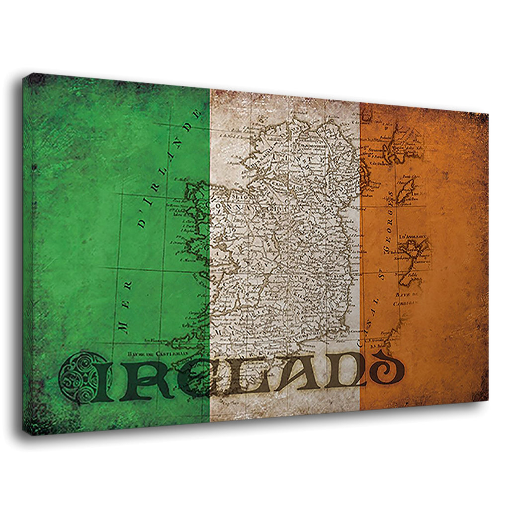 Celtic Irish Flag Map Of Ireland Vintage Grunge