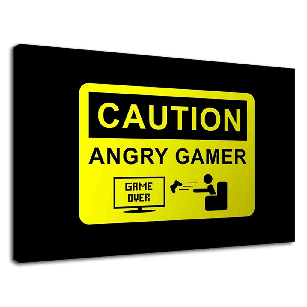 Caution Sign For Angry Gamer For Boys Bedroom