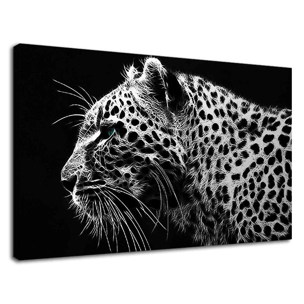 Beautiful Leopard On Black And White Digital Art
