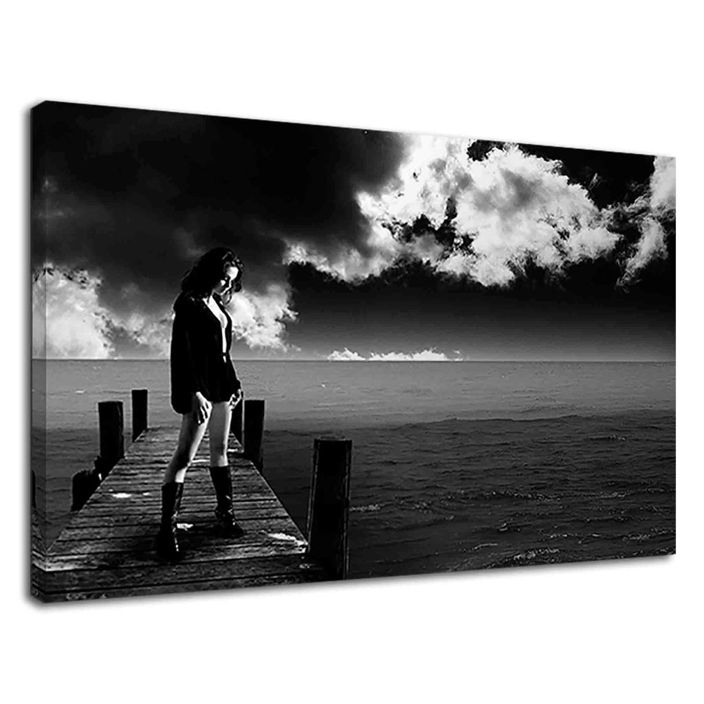 Hot Alone Woman Standing On Dock Black And White