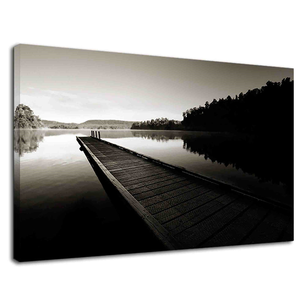 Lonely Dock In River Black And White Photography