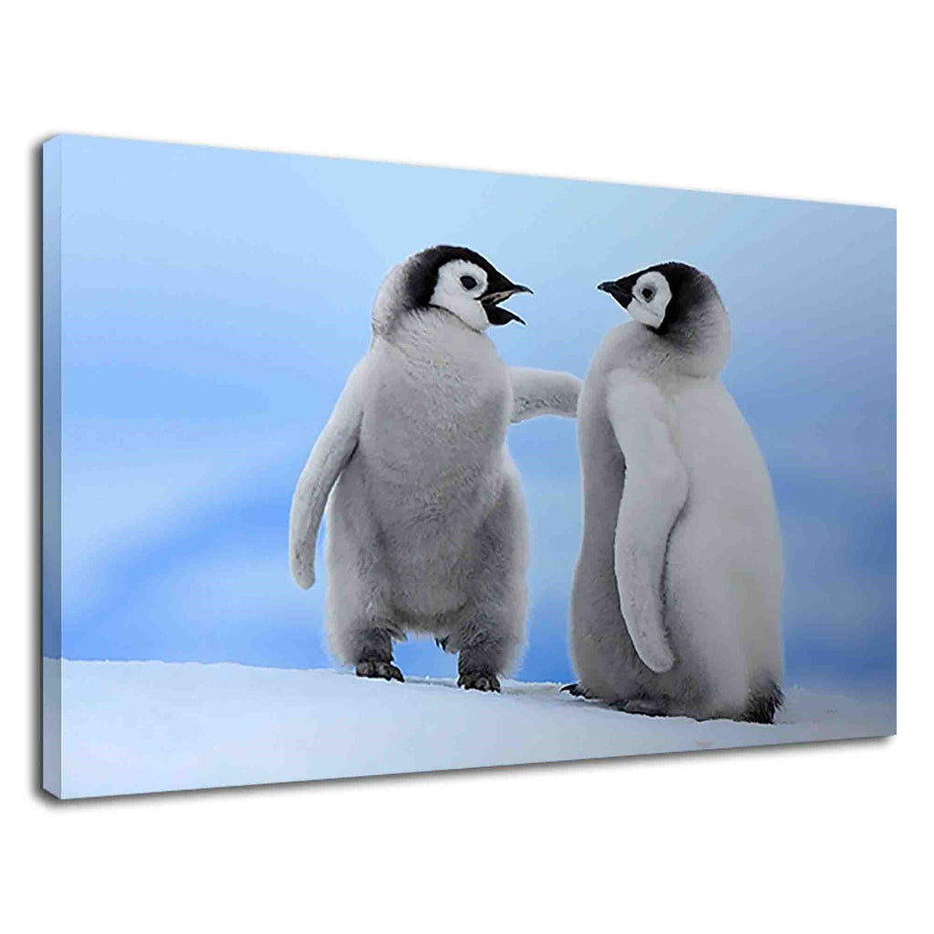 Lovely Baby Penguins On Snow For Drawing Room