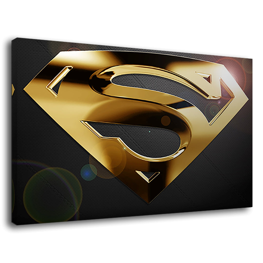 Black Wood And Gold Superman Superhero Logo