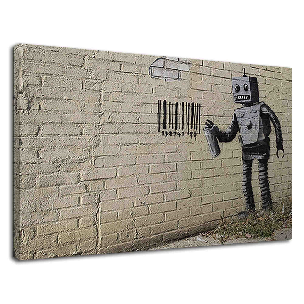 Banksy Robot Painting Barcode Graffiti On Wall