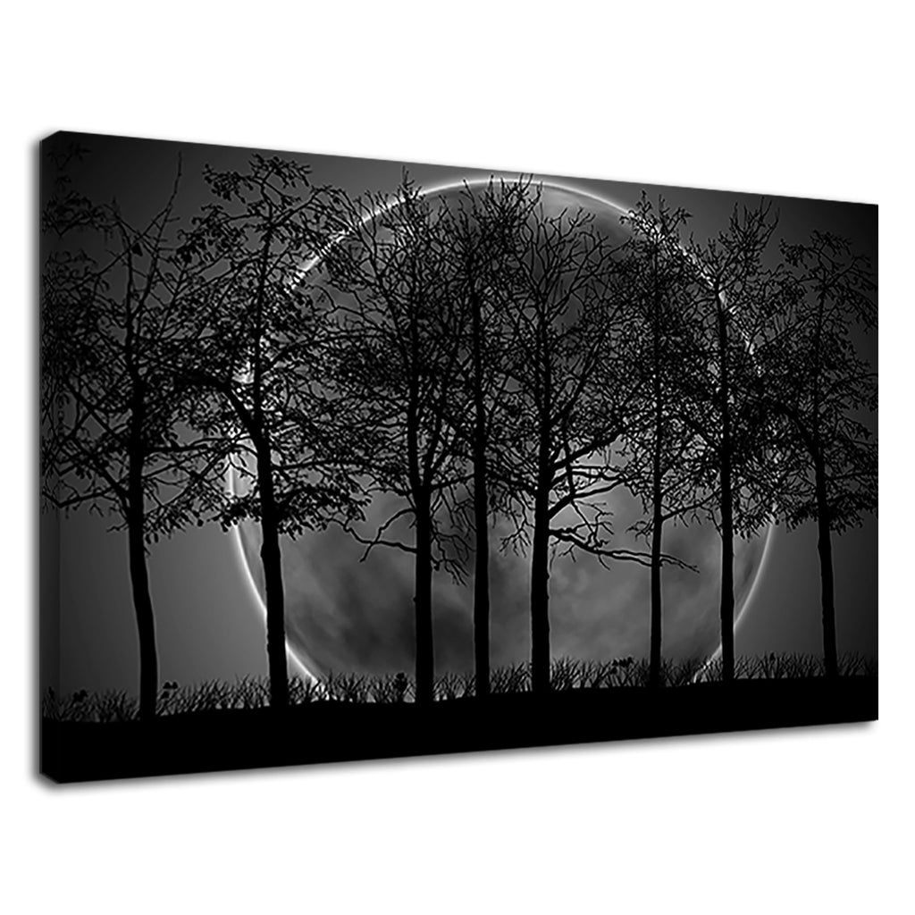Dark Forest Full Moon Misty Landscape Autumn Fall