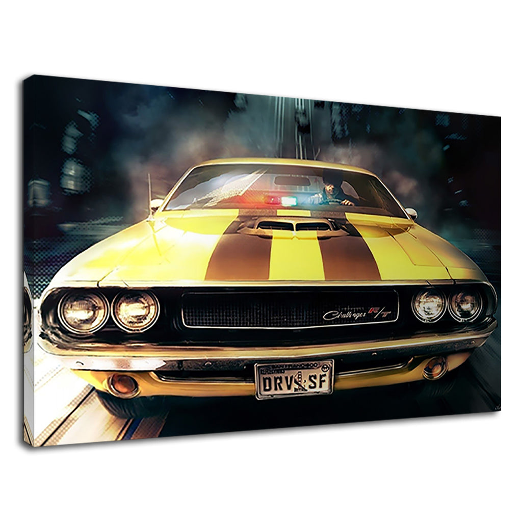 Awesome American Yellow Muscle Car Faster Stripes