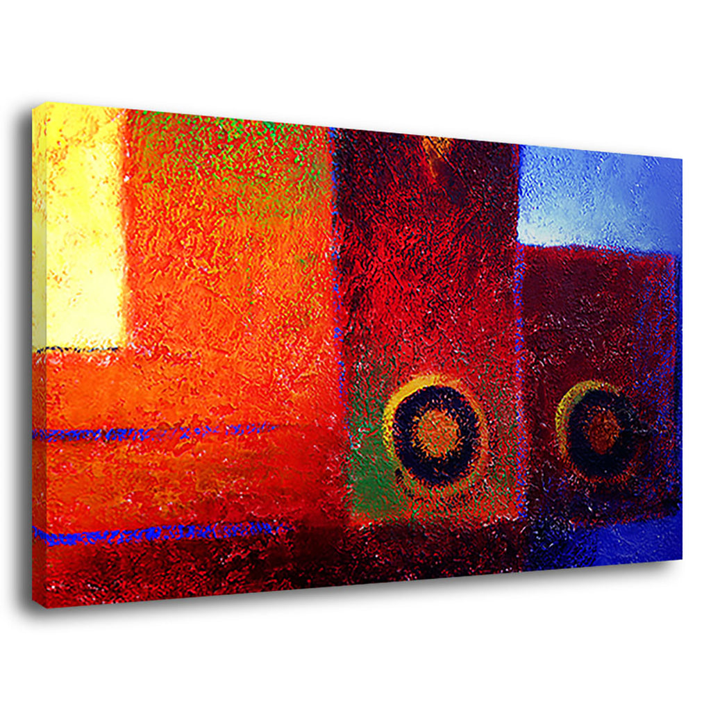 The Jester Painting Oils Canvas Squares Circles
