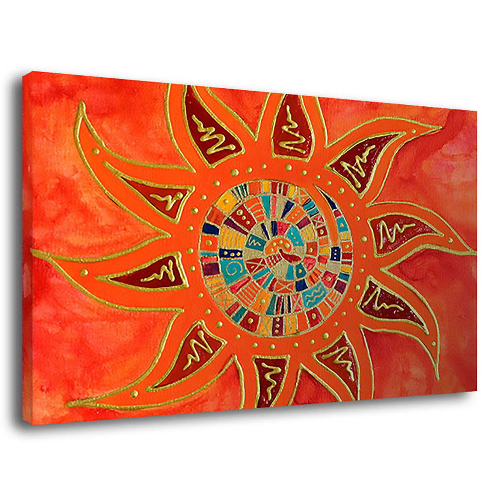 The Sun Abstractius Gold Spiral Painting Relief