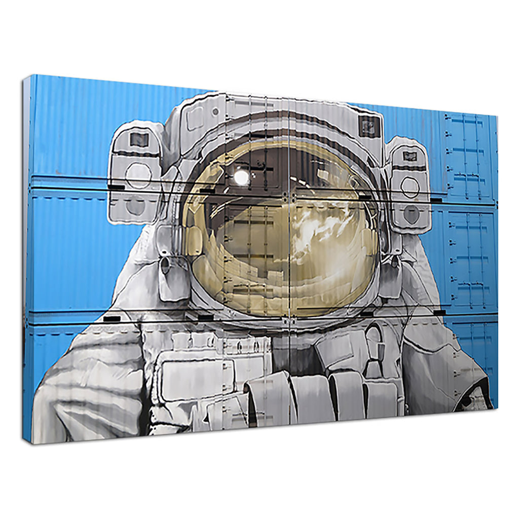 Container To Space Blue Street Art Spacesuit