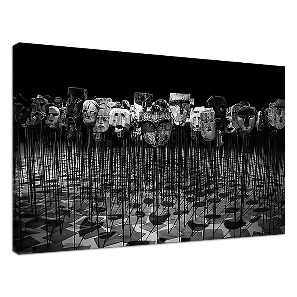 Masks On Sticks Black & White Image Monochrome