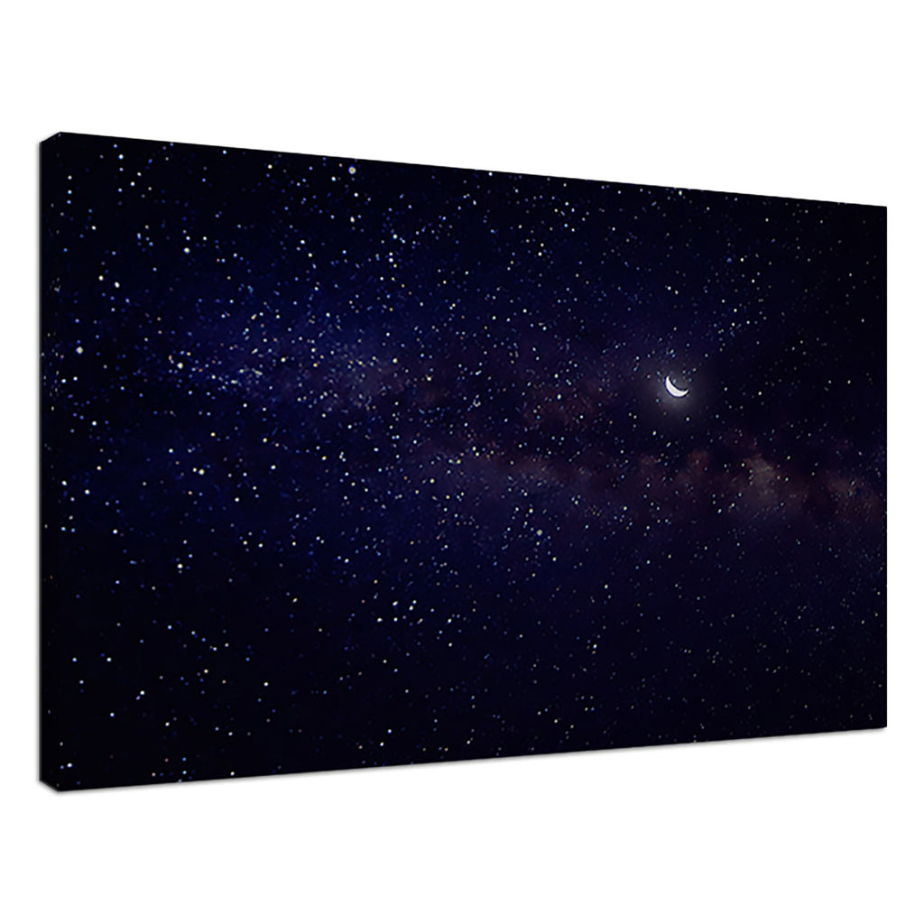 Milky Way Purple Space Crescent Moon Starry Night