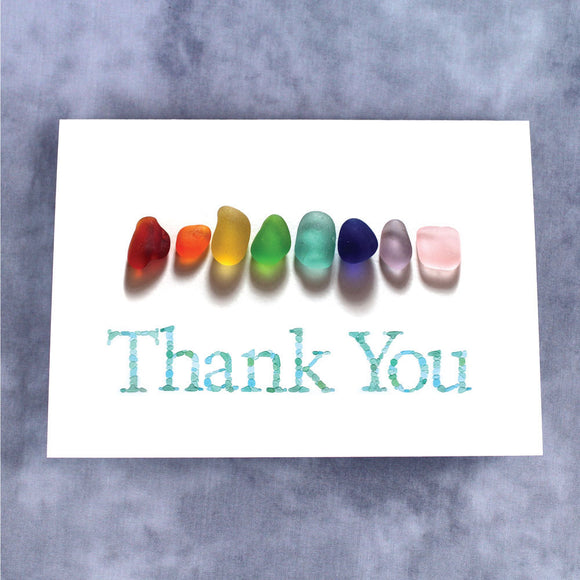 Sea Glass Rainbow Print Thank You Note Card - Seaglass Nugget Print, Blank Inside