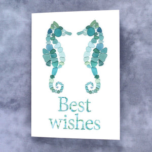 "Sea Glass Sea Horses Print ""Best Wishes"" Note Card - Seaglass Art Mosaic Print, Blank Inside"