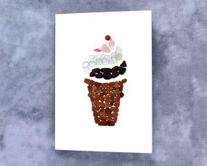 Sea Glass Ice Cream Cone Note Card - Seaglass Mosaic, Blank Inside