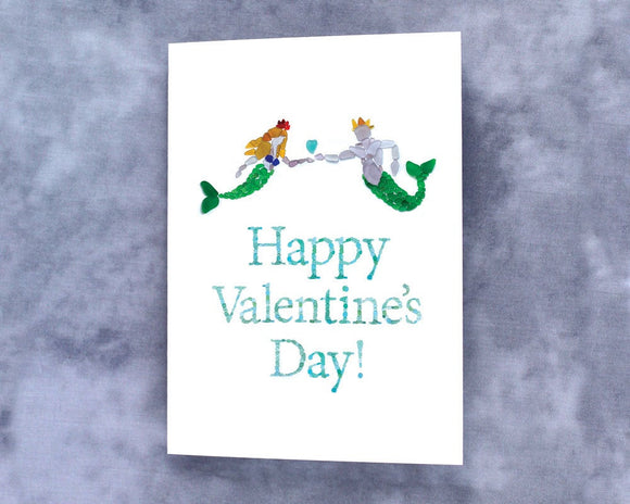 Sea Glass Mermaid and Merman Happy Valentine's Day Card - Seaglass Mosaic Mermaid and King Triton with Seaglass Heart Print - Blank Inside