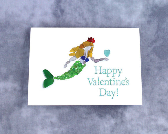 Sea Glass Mermaid Happy Valentine's Day - Blank Inside with Seaglass Mermaid holding a Sea Glass Heart