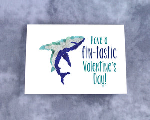 "Sea Glass Shark ""Have a fin-tastic Valentine's Day"" Valentine - Seaglass Mosaic Shark, Blank Inside"