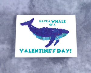 "Sea Glass ""Have a Whale of a Valentine's Day"" Valentine - Seaglass Mosaic Whale, Blank Inside"