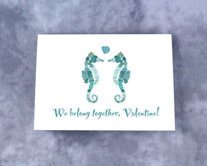 "Sea Glass Seahorses ""We belong together, Valentine!"" - Seaglass Mosaic Sea Horses, Blank Inside"