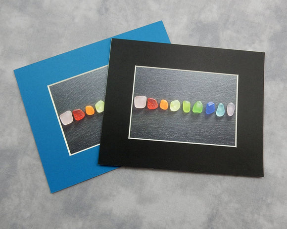 Sea Glass Rainbow Nuggets on Slate Matted - Seaglass Art Mosaic Matted Print