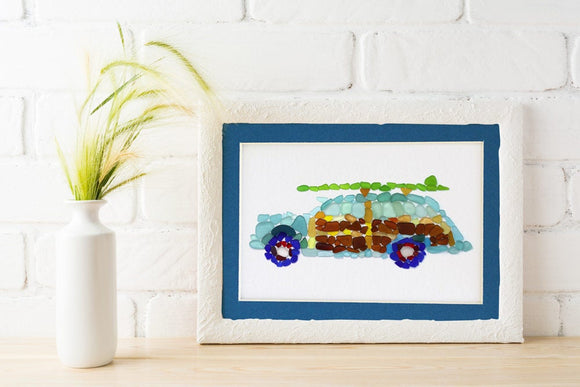 Sea Glass Woody Classic Surf Car Matted Print