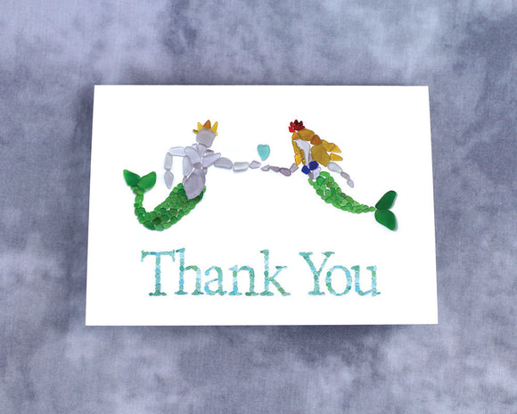 Sea Glass Mermaid and Merman Thank You Card - Blank Card with Seaglass Mosaic Mermaid and King Triton with Seaglass Heart