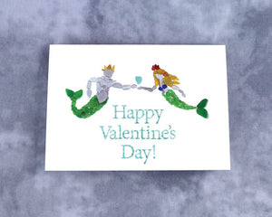 Sea Glass Mermaid and Merman Happy Valentine's Day - Blank Inside with Seaglass Mosaic Mermaid and King Triton with Sea Glass Heart