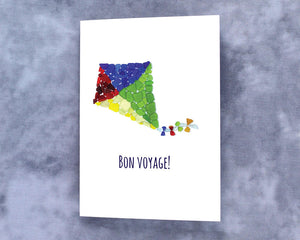 "Sea Glass Kite ""Bon Voyage"" Card - Seaglass Mosaic, Blank Inside"
