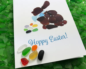 "Sea Glass Easter Bunny ""Hoppy Easter"" Card - Seaglass Mosaic Rabbit with Jelly Beans, Blank Inside"