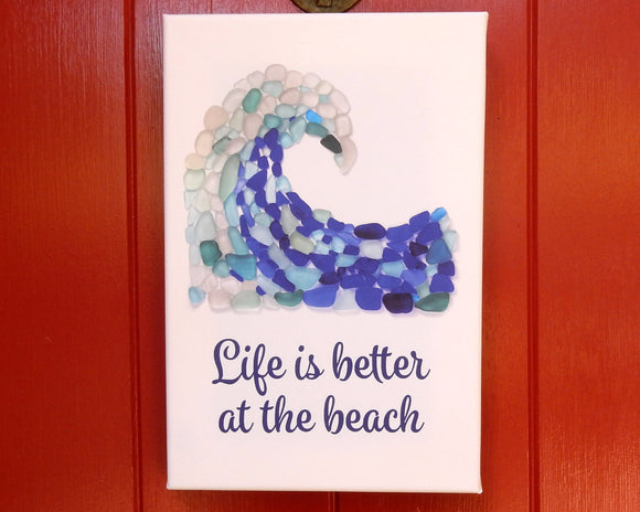 Sea Glass Wave - Seaglass Art Mosaic Print on Canvas -