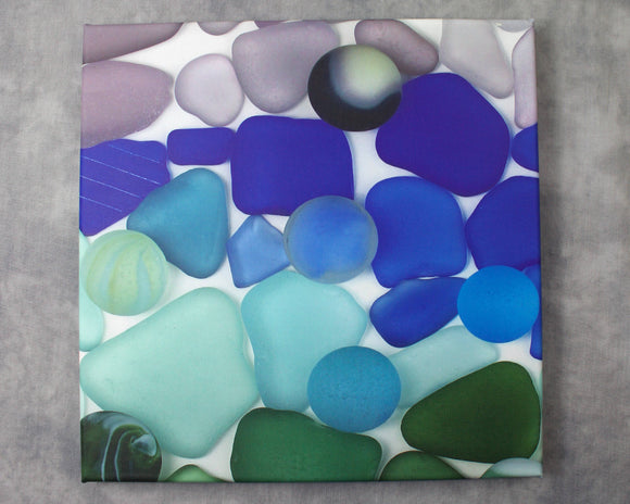 Cool Sea Glass - Seaglass Art Mosaic Print on Canvas