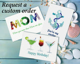 Sea Glass Cocktails Happy Birthday Card
