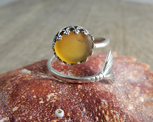 Large Yellow Sea Glass Sterling Silver Mermaid Ring F