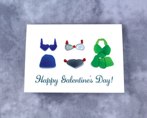 "Sea Glass Bathing Suits ""Happy Galentine's Day!"" Note Card - Seaglass Art Print - Friendship, Galentine"