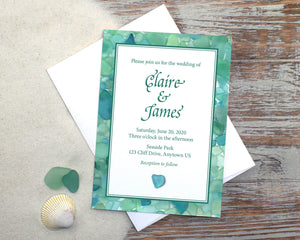 Aqua Sea Glass Wedding Invitation Suite Design