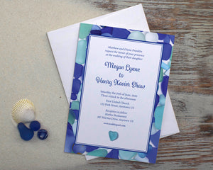 Blue Sea Glass Wedding Invitation Suite Design