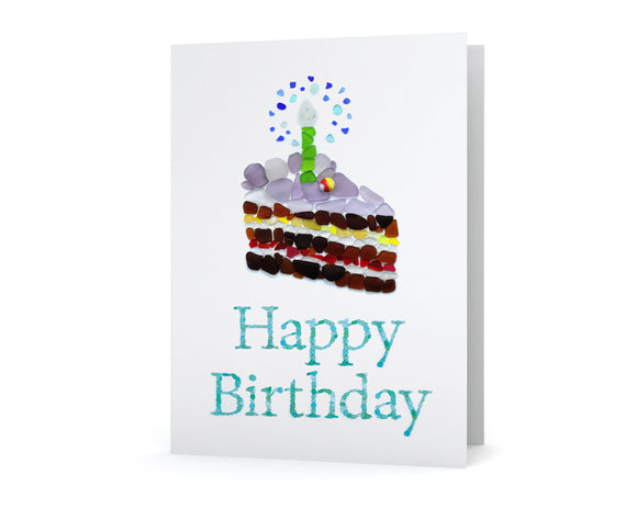 Sea Glass Happy Birthday Cake Card