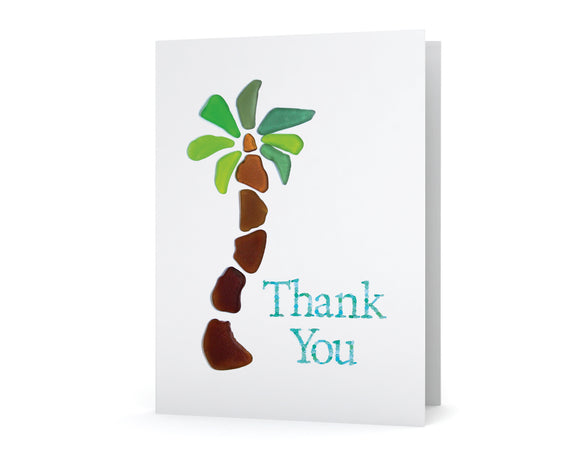 Sea Glass Palm Tree Thank You Card