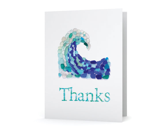 Sea Glass Wave Thanks Card