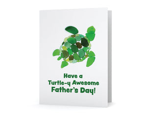 "Sea Glass Turtle Father's Day Card - ""Have a turtle-y awesome father's day"" - Seaglass Art Mosaic Print, Blank inside"