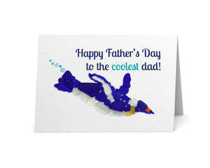 "Sea Glass Penguin Father's Day Card - ""Happy Father's Day to the Coolest Dad"" - Seaglass Art Mosaic Print, Blank inside"