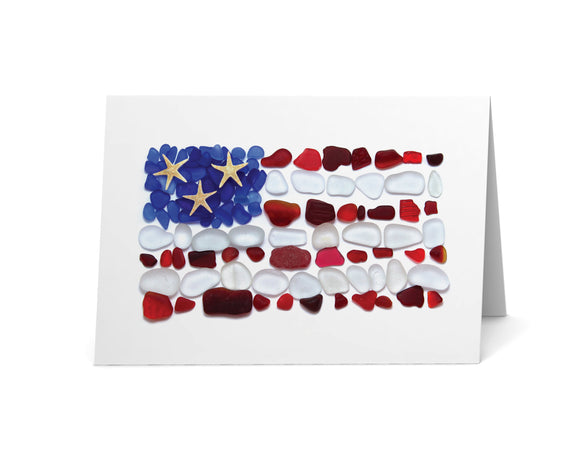Sea Glass American Flag Card