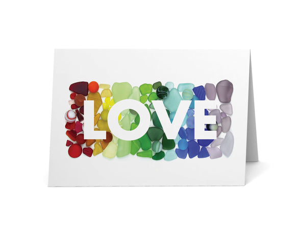 Sea Glass Rainbow LOVE Card