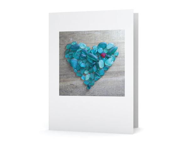 Teal Sea Glass Heart Card