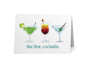 "Sea Glass ""But first, cocktails"" Card"
