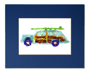 Sea Glass Woody Classic Car Matted Print