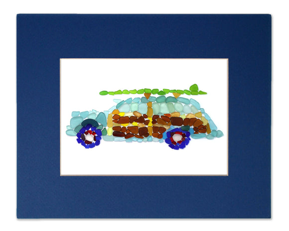 Sea Glass Woody Classic Car - Seaglass Art Mosaic Surfer Wagon Matted Print
