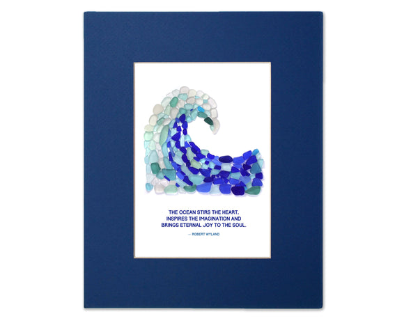 "Sea Glass Wave - Seaglass Art Mosaic Matted Print - ""The ocean stirs the heart..."" - Robert Wyland"