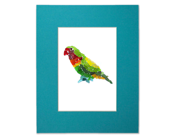 Sea Glass Parrot - Seaglass Art Mosaic Matted Print