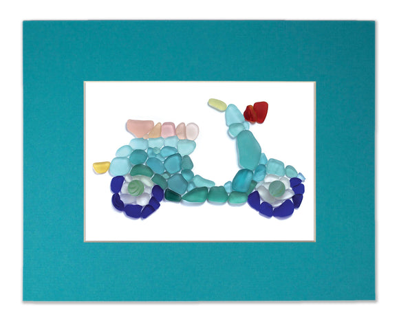 Sea Glass Scooter - Seaglass Art Mosaic Moped Matted Print
